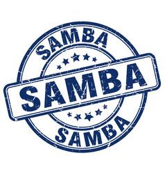 Samba blue grunge round vintage rubber stamp vector