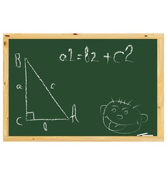 school board with the pythagorean theorem and pain vector image