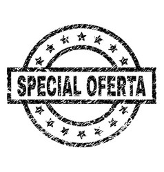 Scratched textured special oferta stamp seal vector