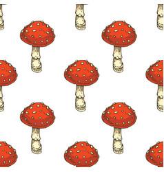 Seamless pattern red amanita fly agaric mushroom vector