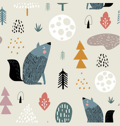 Seamless woodland pattern with wolf moon and hand vector