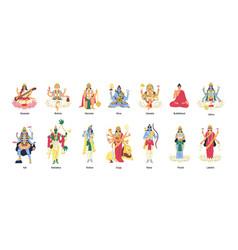 set ancient indian hindu gods and goddesses vector image