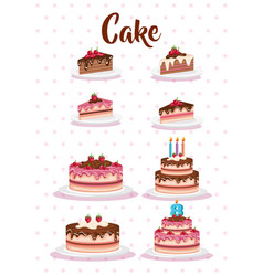 Set cake portions icons vector