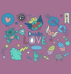 Set hand-drawn love elements ornamental vector