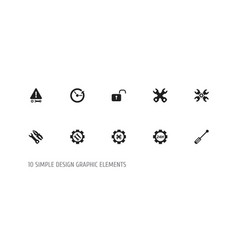 set of 10 editable repair icons includes symbols vector image