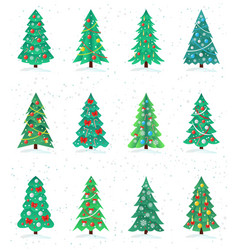 set of different christmas trees icon happy new vector image