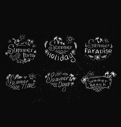 Set summer labels on black background vector