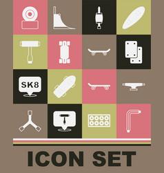 Set tool allen keys skateboard wheel knee pads vector
