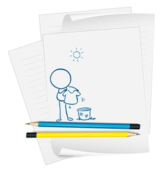 Sheets of paper with two pencils vector image