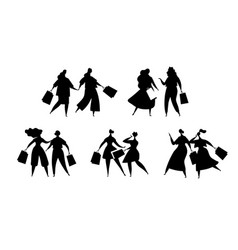 silhouettes women with shopping fashionable vector image
