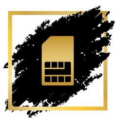 Sim card sign golden icon at black spot vector