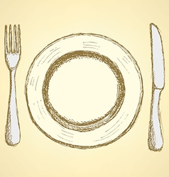 Sketch plate knife and fork in vintage style vector image vector image