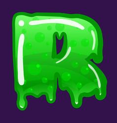 slime font type letter r latin alphabet green vector image