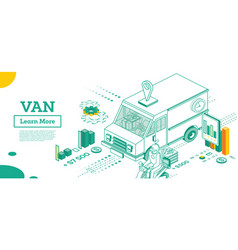 small van car isometric commercial transport vector image