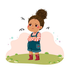 Sulky girl standing with arms crossed on chest vector
