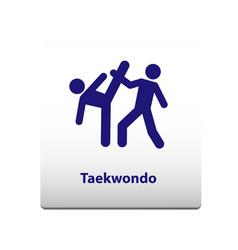taekwondo sport symbol stickman solid icon vector image