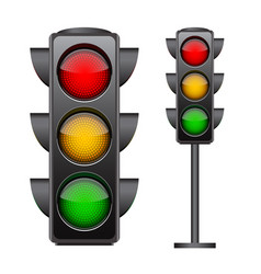 traffic lights with all three colors on vector image