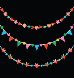 trendy colors hearts and flowers bunting set vector image