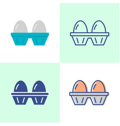 two eggs pack icon set in flat and line style vector image