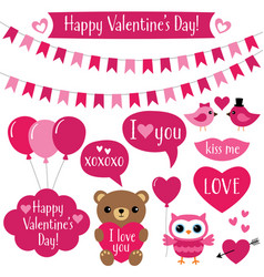 valentines day design elements set vector image