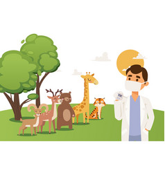 Veterinarian doctor in mask and lab coat with vector