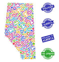 Welcome collage of mosaic map of alberta province vector