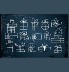 white doodle christmas gift boxes vector image