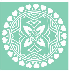 White heart round circle mandala green background vector