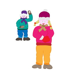 Winter boy and girl vector