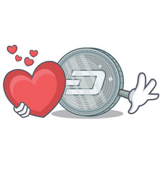 With heart dash coin character cartoon vector