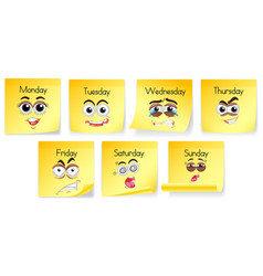 Yellow notes with days of the week and facial vector