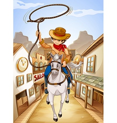 A village with a young boy riding in a horse vector image vector image