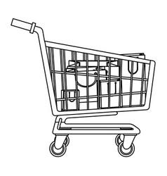 cart shopping paper bag gift commerce outline vector image