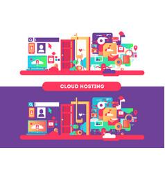 cloud hosting design vector image vector image