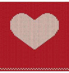 Knitted pattern with heart vector image vector image