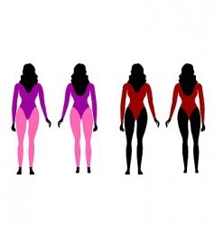 silhouettes of women in sportswear vector image