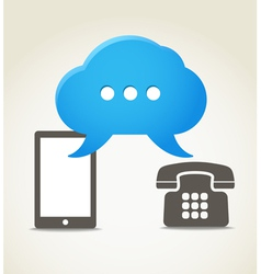 Two phones with speech clouds vector image vector image