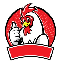chicken mascot with thumb up vector image vector image