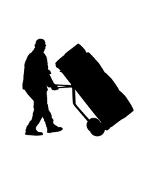 delivery man silhouette carrying boxes with a vector image vector image
