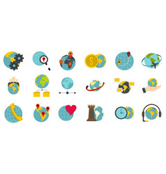 global icon set flat style vector image