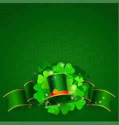 green st patricks day background with clover vector image vector image