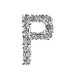 letters floral p vector image vector image