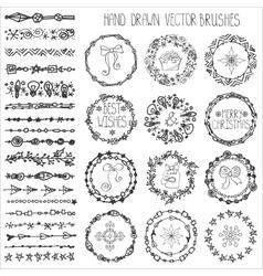 Winter doodle brushesChristmas decorBlack wreath vector image vector image