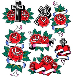 cross and rose design vector image vector image