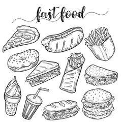 fast or unhealthy junk food sketches of hot dog vector image