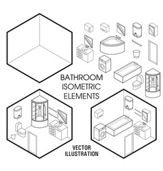 isometric bathroom interior constructor vector image vector image