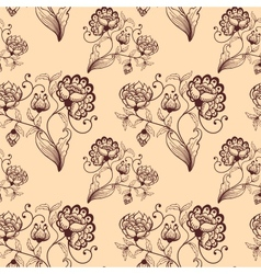Retro seamless background with stylized flowers vector image vector image