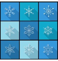 Set of nine snowflake flat icons vector image vector image