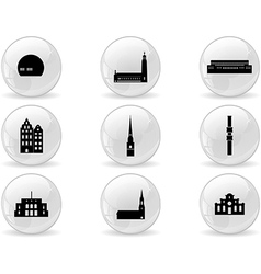 Web buttons landmark icons - Stockholm vector image