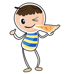 A sketch of a boy eating a pizza vector image vector image